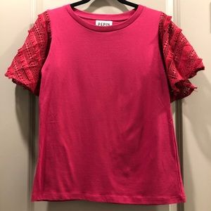 Anthropologie | Pepin Magenta Red Lace Sleeve Top